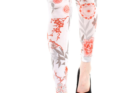 Floral Footless Tights Japan for Women
