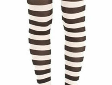 White Striped footless Tights for women, opaque ankle length