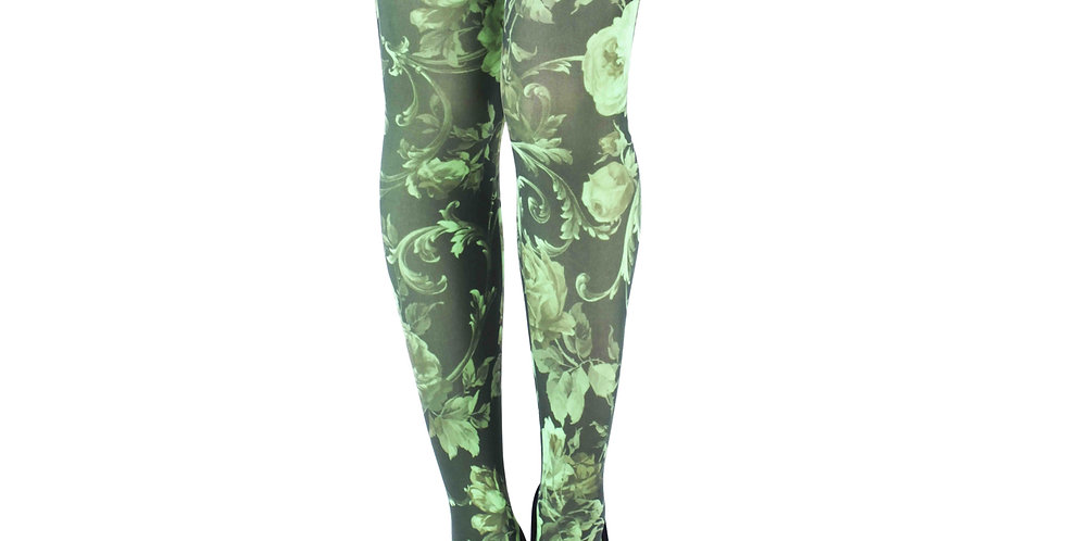 Lime Green and Black Floral Patterned Tights for all Women