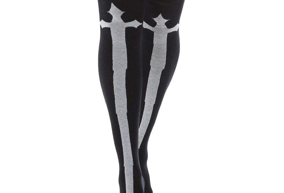 High Socks Goth Crosses | Black and White