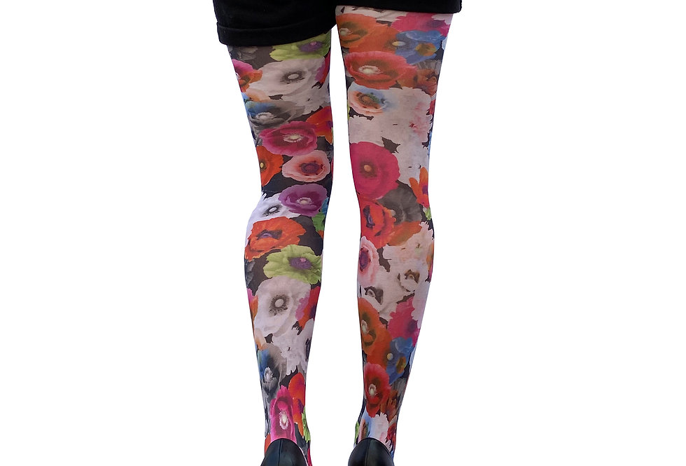 Colorful Floral Patterned Tights Poppy for Women Malka Chic