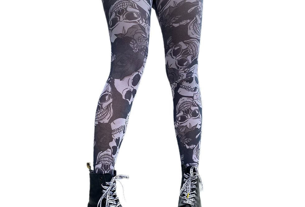 Black and White Tights Skulls Riley