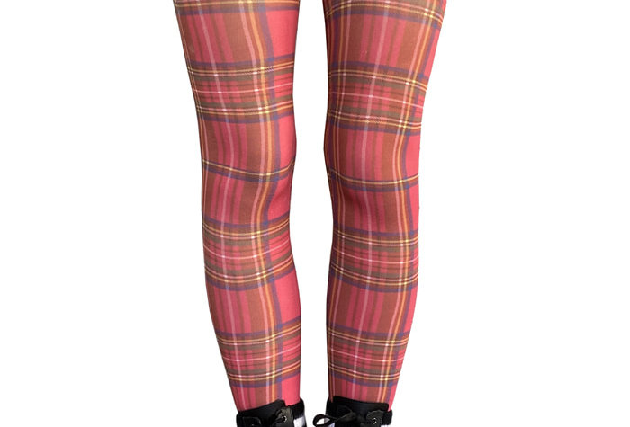 Red Plaid Patterned Tights for Women