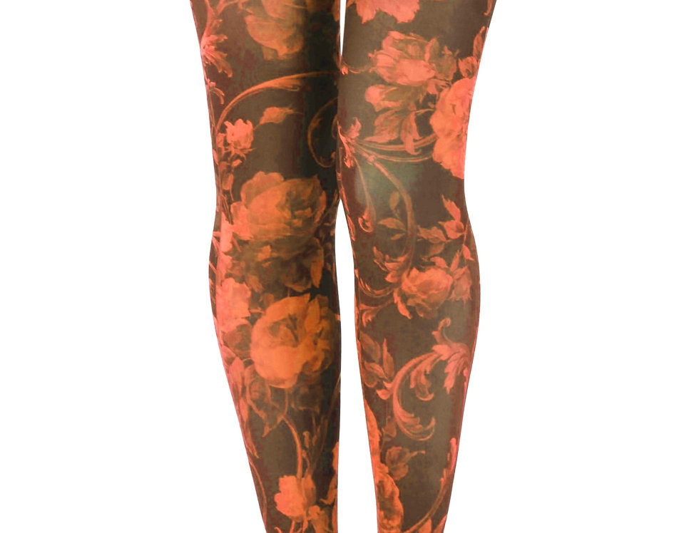Orange and Black Floral Patterned Tights for all Women