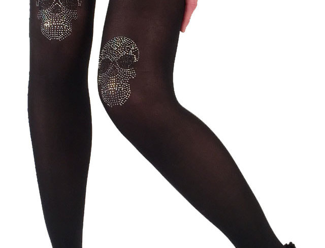 Black Opaque Tight with Skulls Rhinestones on the knees for Women