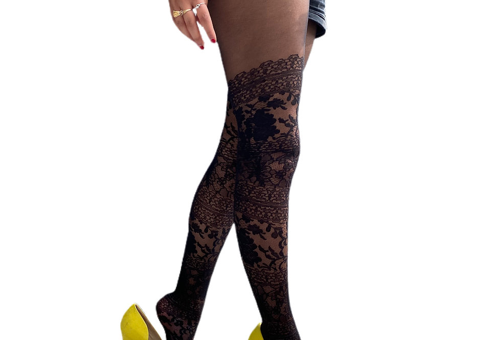 Black Vintage Lace Tights For Women Malka Chic