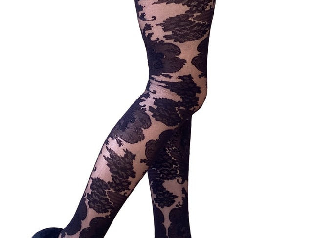 Black Floral Lace Tights Ornate for Women