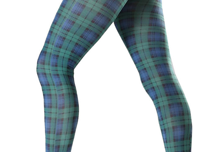 Green Plaid Patterned Tights For Women