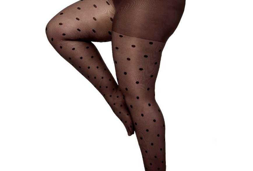 Brown Dotted Sheer tights Plus Size