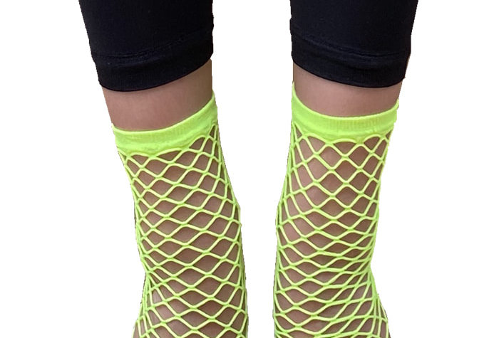Yellow Large Fishnet Ankle Socks for Women