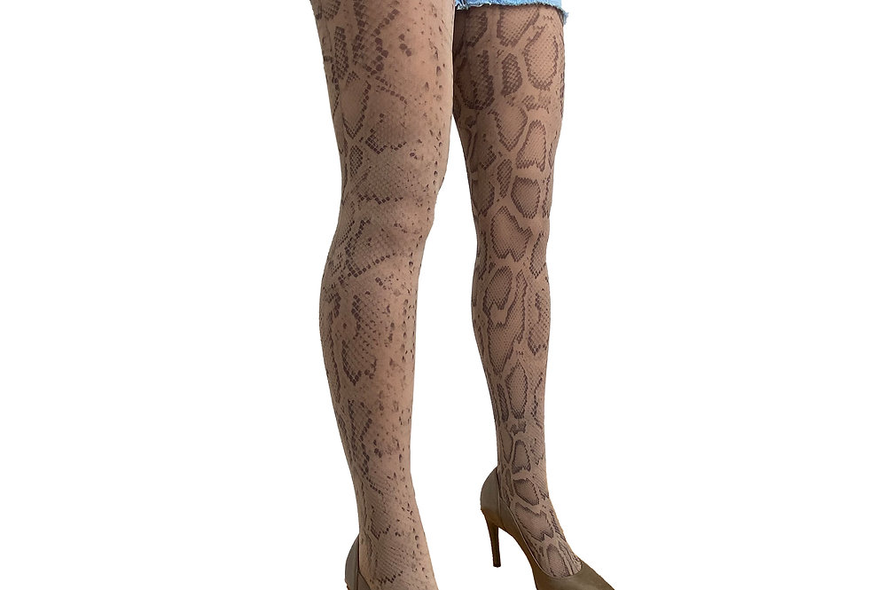 Beige Snake Patterned Tights for Women Malka Chic