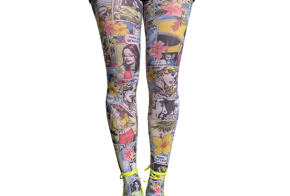 Patterned Tights Comics Paradise for Women Malka Chic
