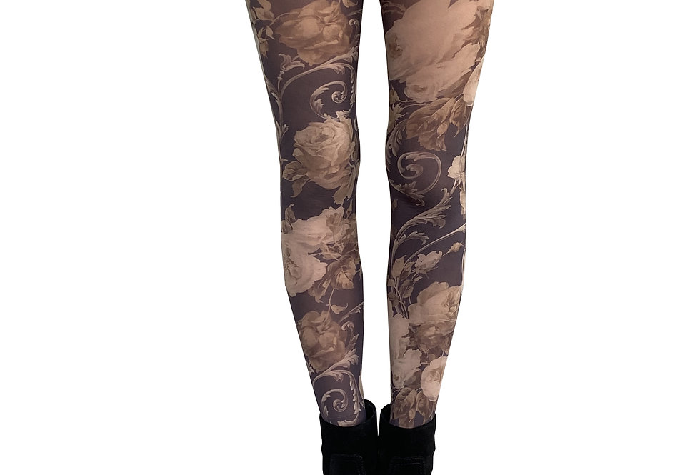 Beige Floral Patterned Tights For Women Malka Chic