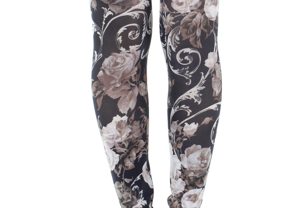 White Floral Footless Tights for Women