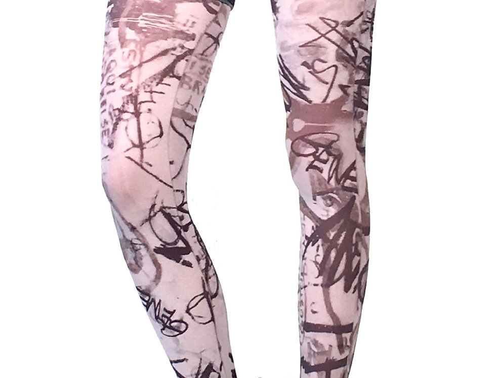 White Fashion Opaque Patterned Tights Street Art for Women