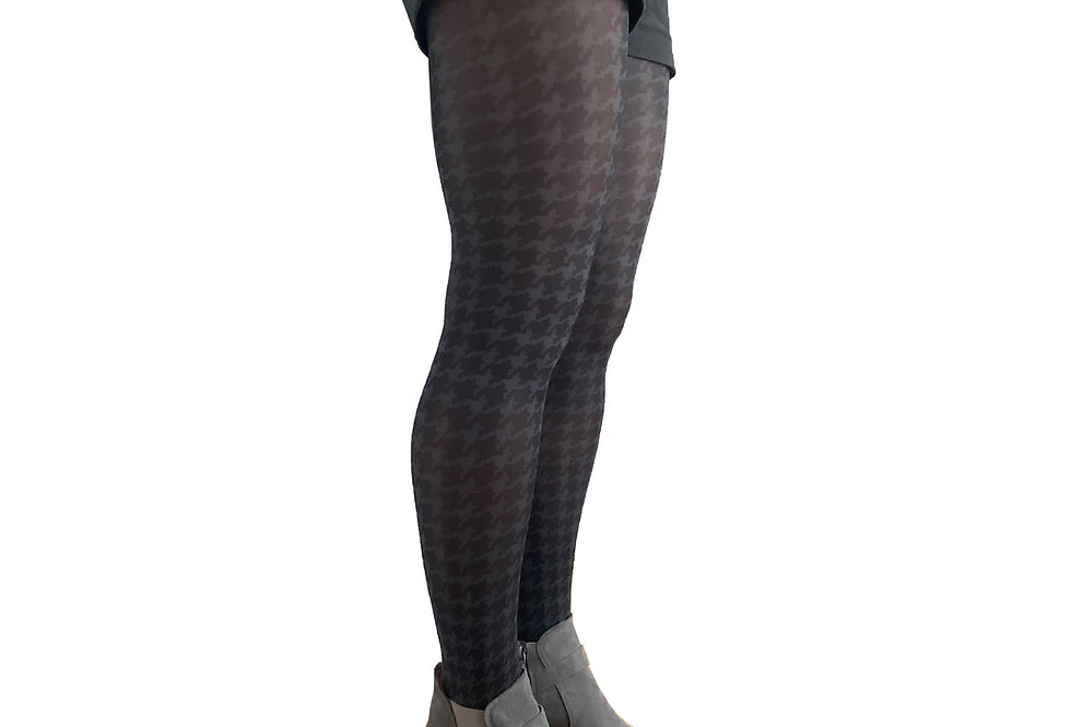 Black and Gray Hounds tooth tights for Women Malka Chic