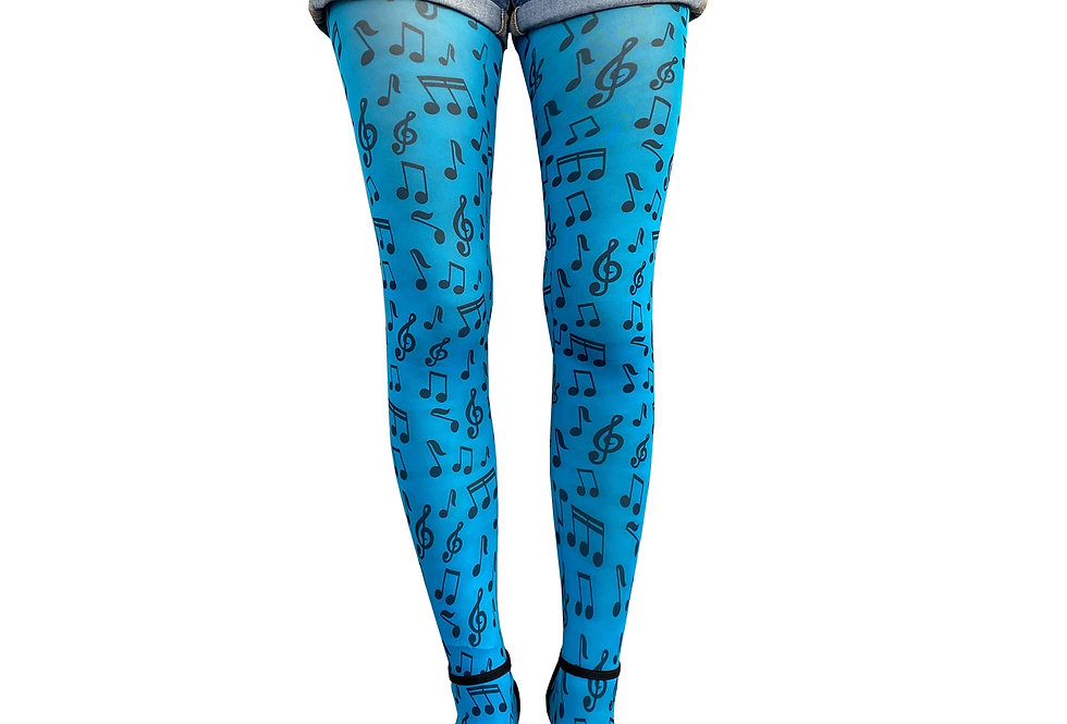 Turquoise Patterned Tights Music for all Women