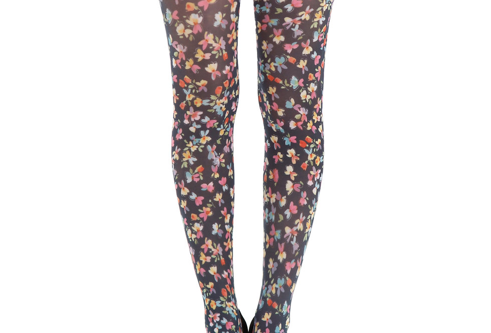 Black Floral Tights Ditsy for Women Malka Chic
