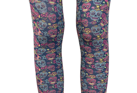 Multi-color footless tights Sugar Skulls