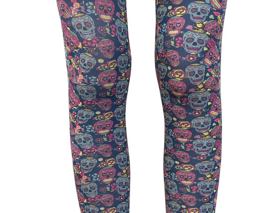 Multi-color patterned footless  tights with Sugar Skulls all over the legs