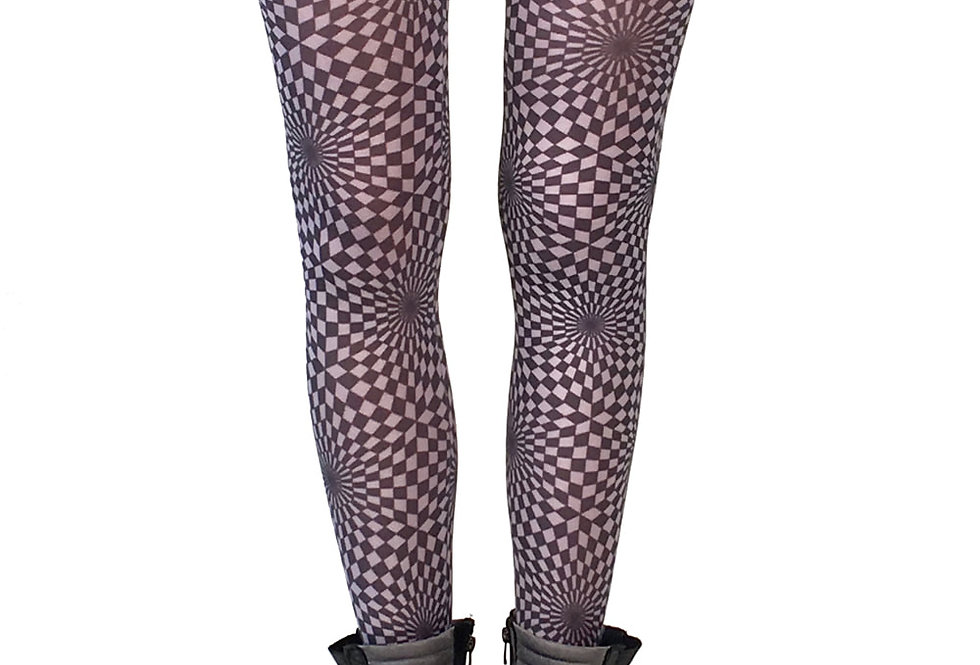 Black and White Fashion Patterned Tights Illusion for Women