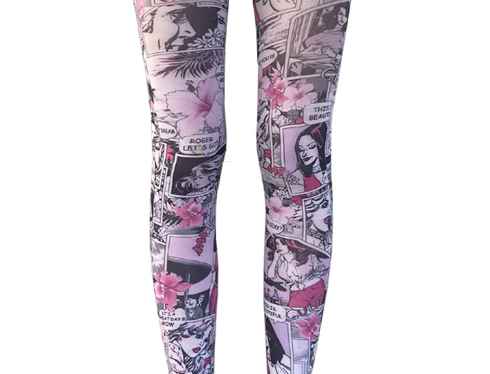 Pink Opaque Patterned Tights Comics for all Women