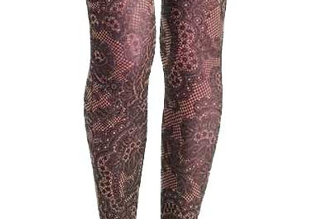 Lace Floral Printed Tights Beige for Women
