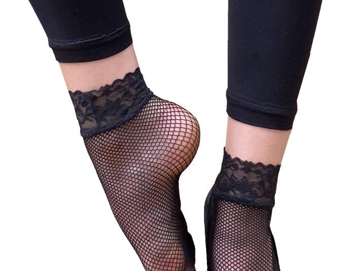 Black Lace Trim Fishnet Ankle Socks for Women