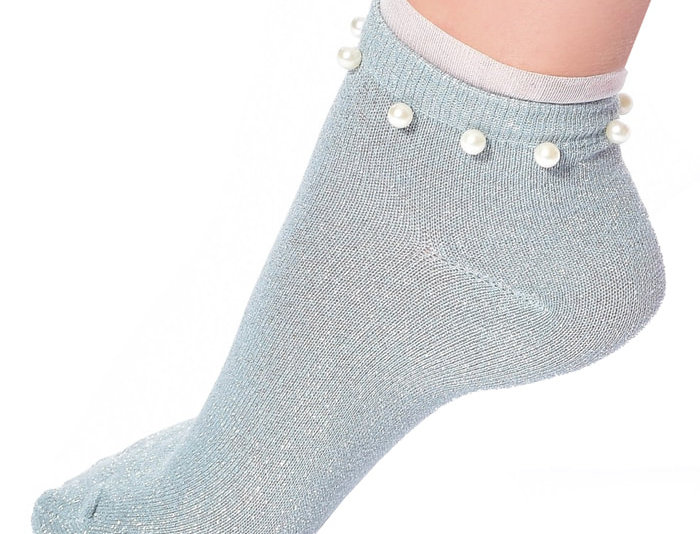 Light Blue Glitter Cotton Ankle Socks with Pearl for Women