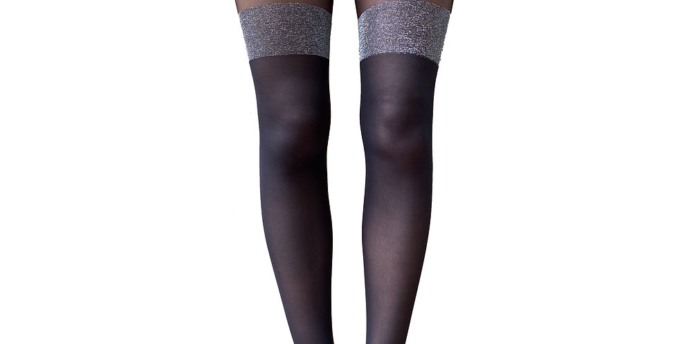 Black and Silver Mock Suspender Tights Over Knee Stockings Illusion Thigh High