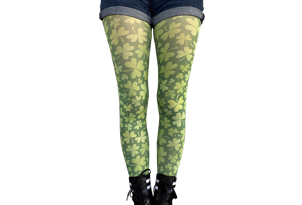 Green Shamrock Tights St Patrick's Day for Women