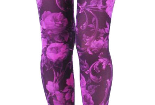 Pink Floral Footless Tights for Women