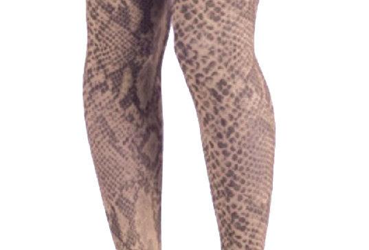 Beige Snake Patterned Tights for Women