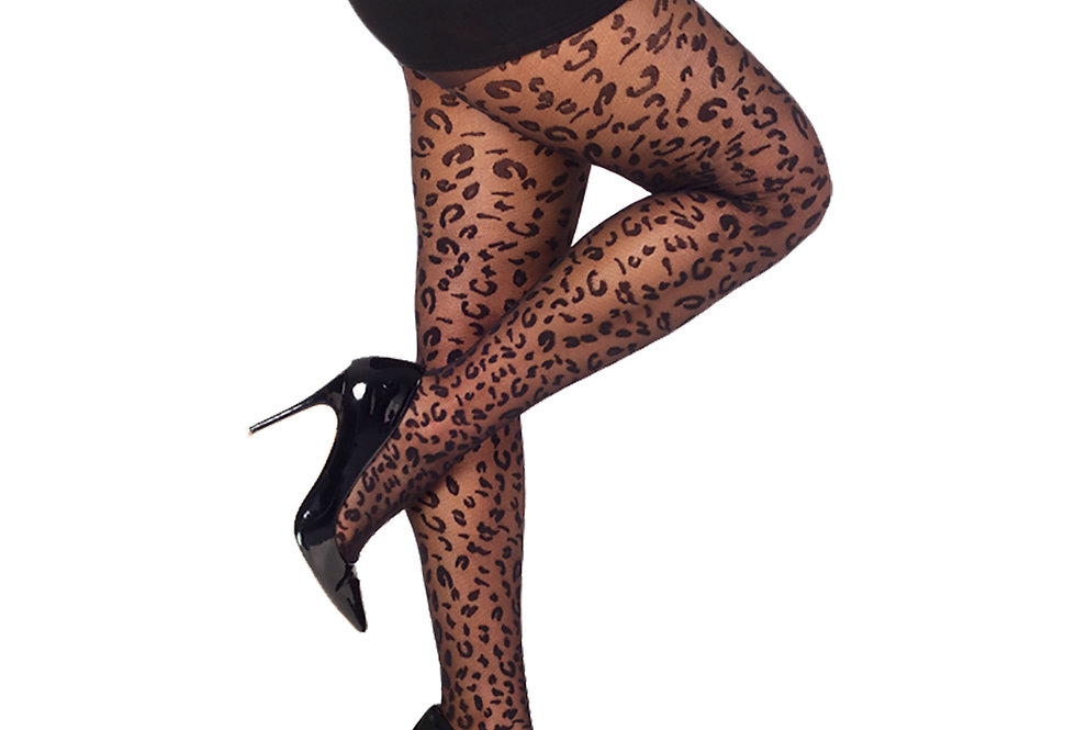 Black Leopard Sheer Tights plus size Malka Chic