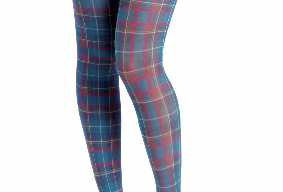 Teal Plaid Patterned Tights for Women