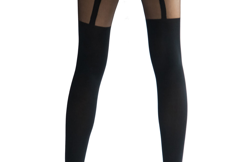 Black Stripes Illusion Thigh High for Women