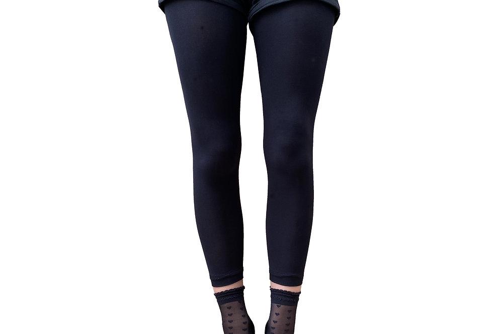 Black Sheer Heart Ankle Socks for Women