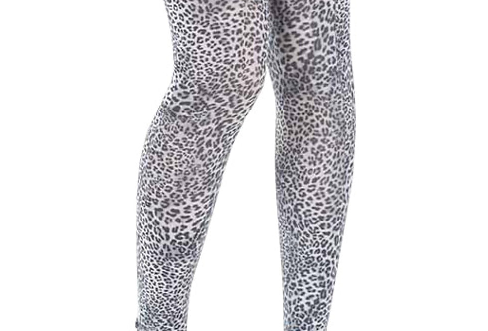 Petite Leopard Footless Tights White for Women