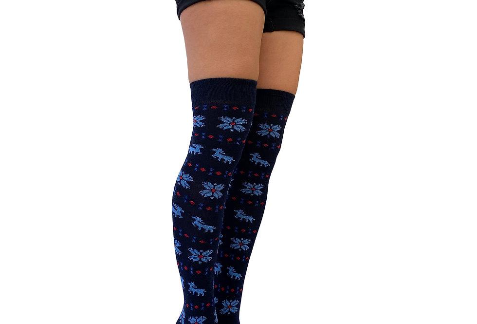 Navy blue winter pattern socks
