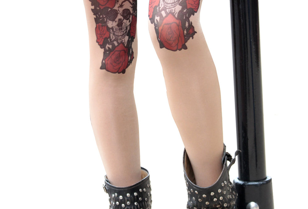 Skull and Roses Sheer Tattoo Tights for Women