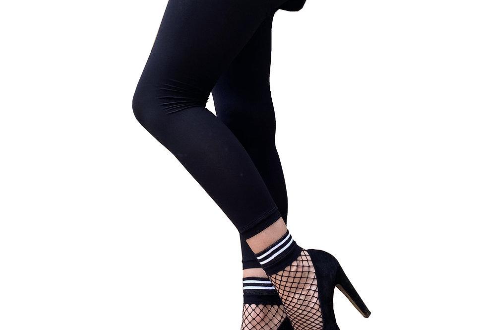 Striped Large Fishnet Ankle Socks Black and White