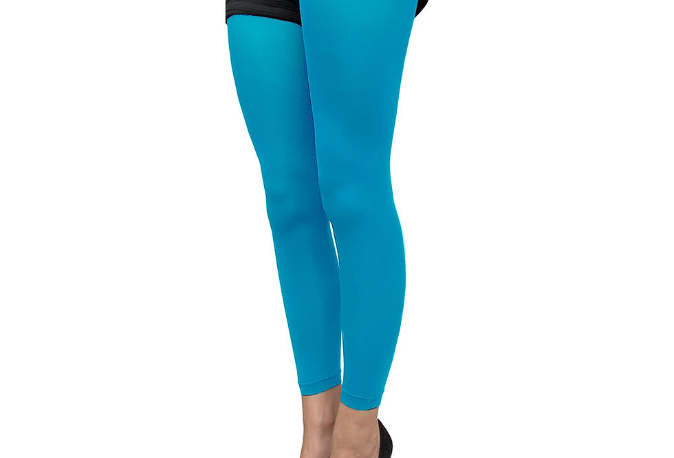 Turquoise Blue Footless Tights