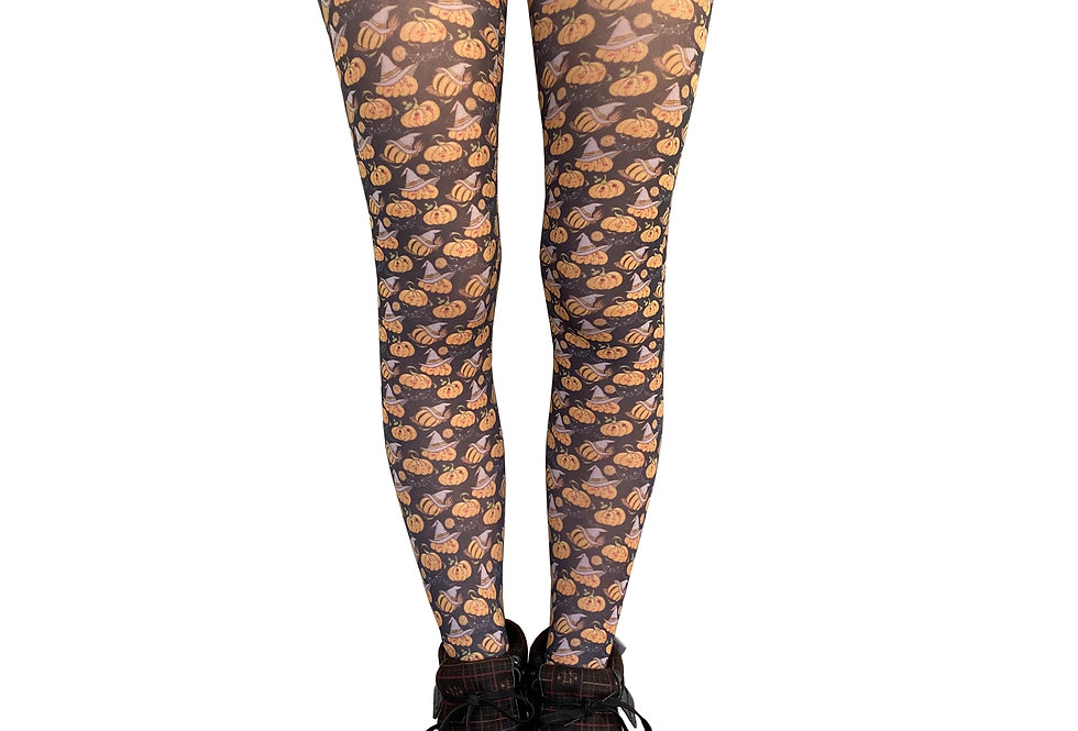 Pumpkins Patterned Tights for Women