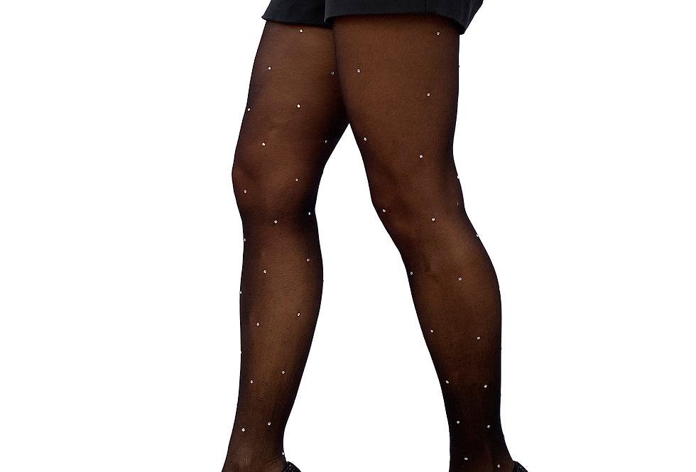 Rhinestone Sheer Tights Stockings Black