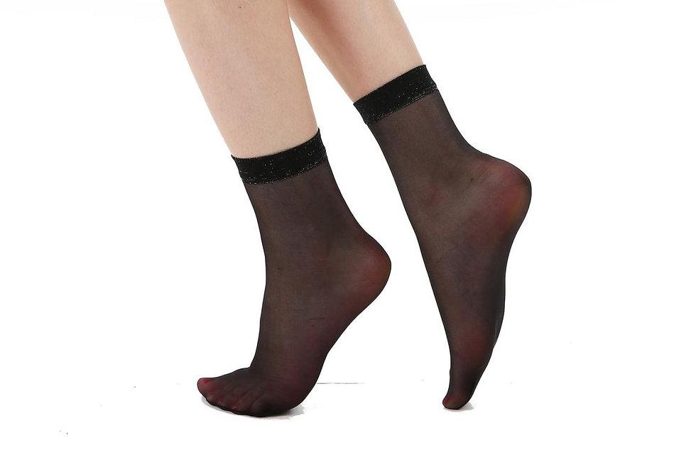Black Sparkly Trim Sheer Socks for Women