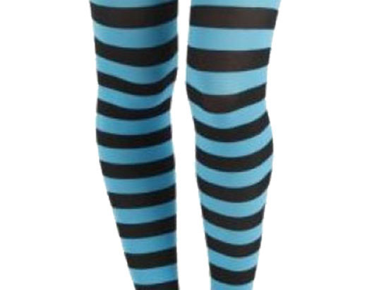 Turquoise Striped Opaque Tights for Women