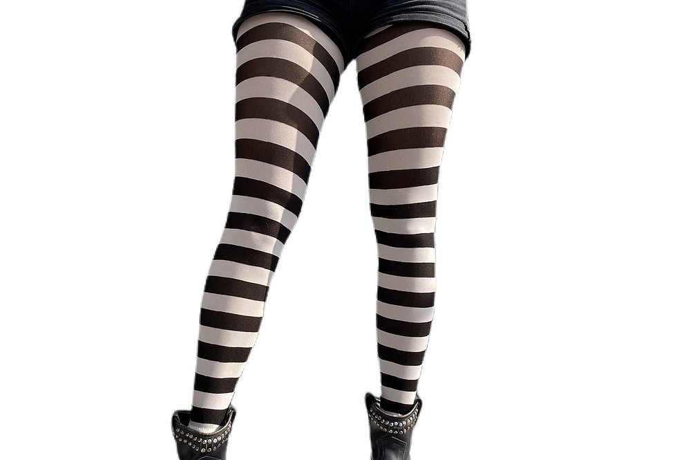 White Striped Opaque Tights for Women Malka Chic