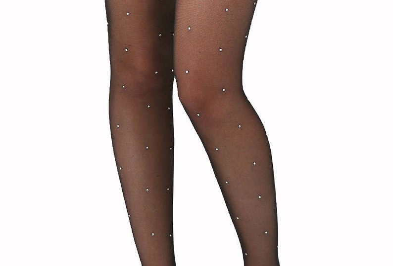 Black Sparkly Rhinestone Sheer Stockings for Women