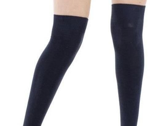 Solid Black Cotton Tube Socks for Women