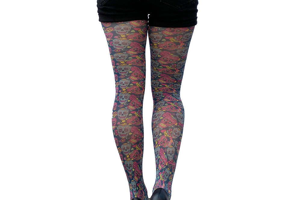 Patterned Pantyhose Sugar Skull for Women Malka Chic